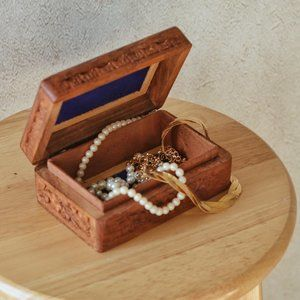 Floral Wooden Carved Jewelry Box